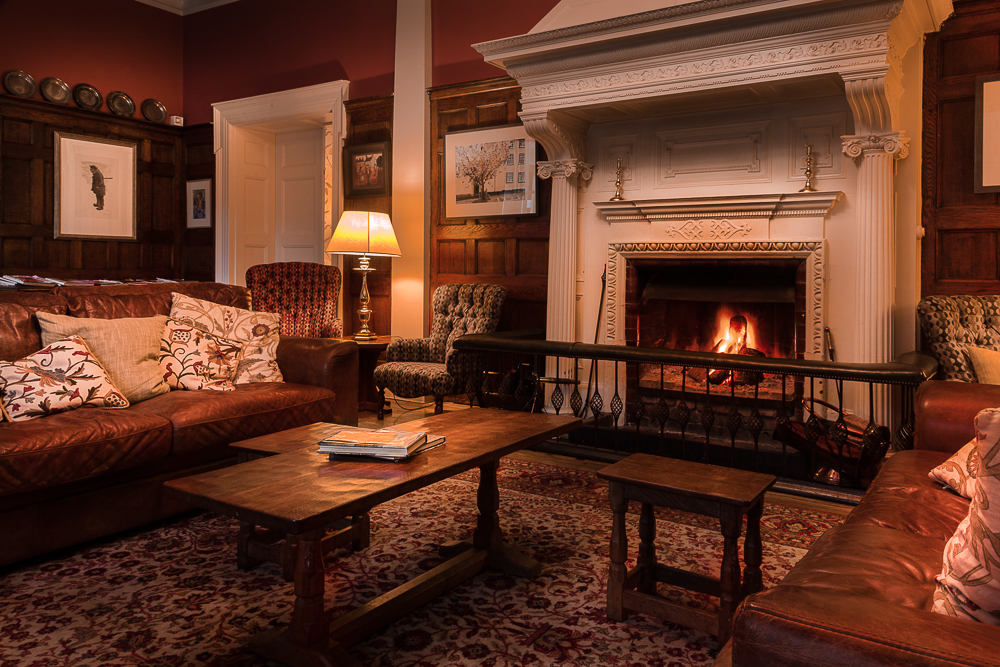 country house hotel with log fires wales