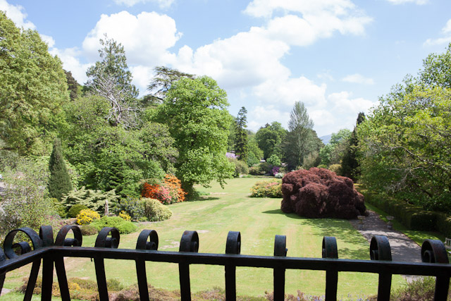 mid-summer hotel garden view from country house hotel wales